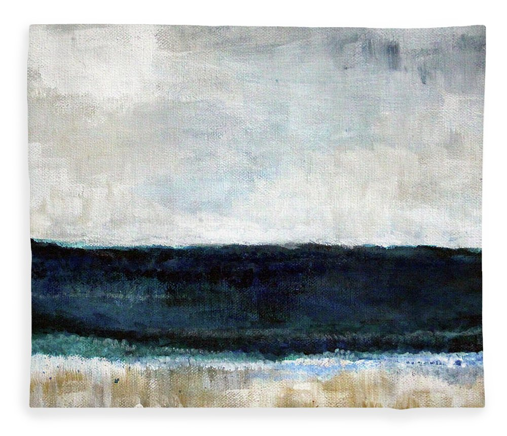 Beach Fleece Blanket featuring the painting Beach- abstract painting by Linda Woods