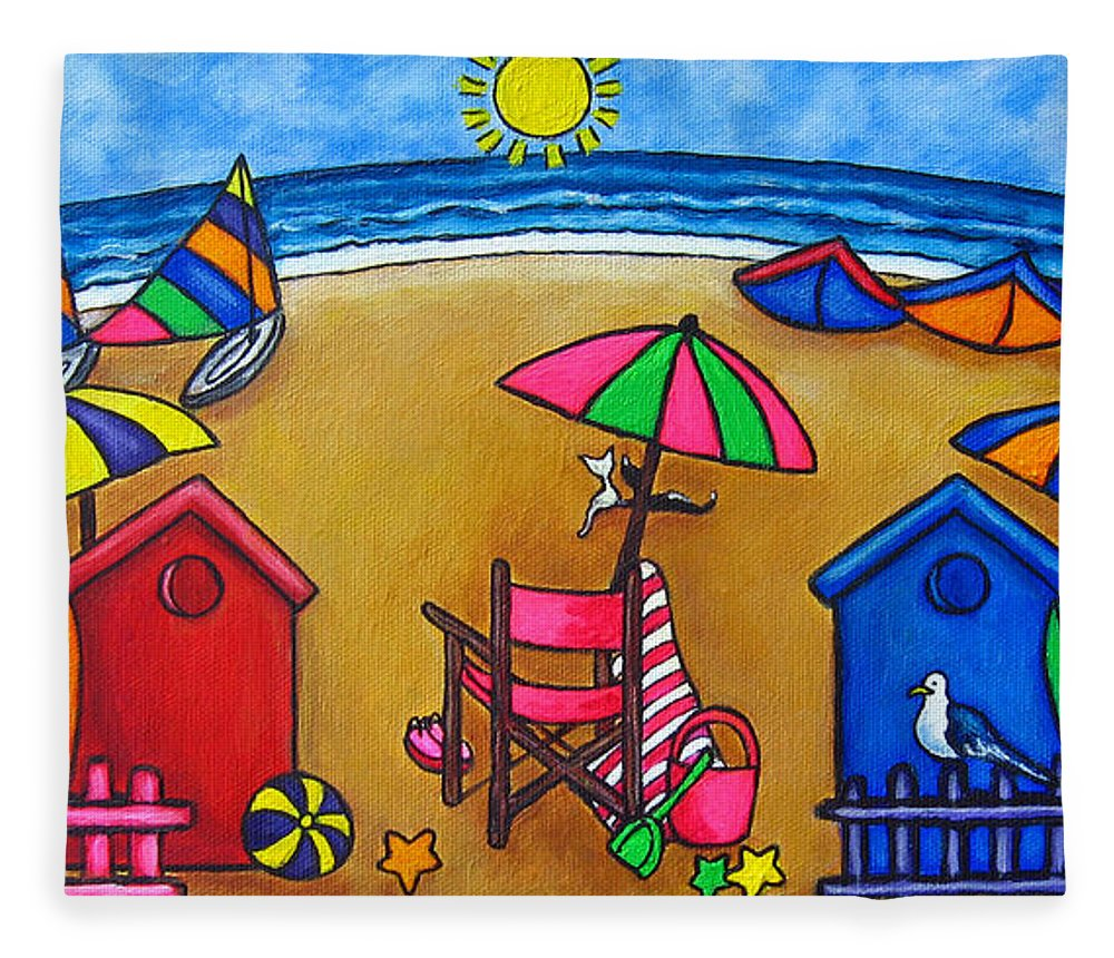 Beach Fleece Blanket featuring the painting Beach Colours by Lisa Lorenz