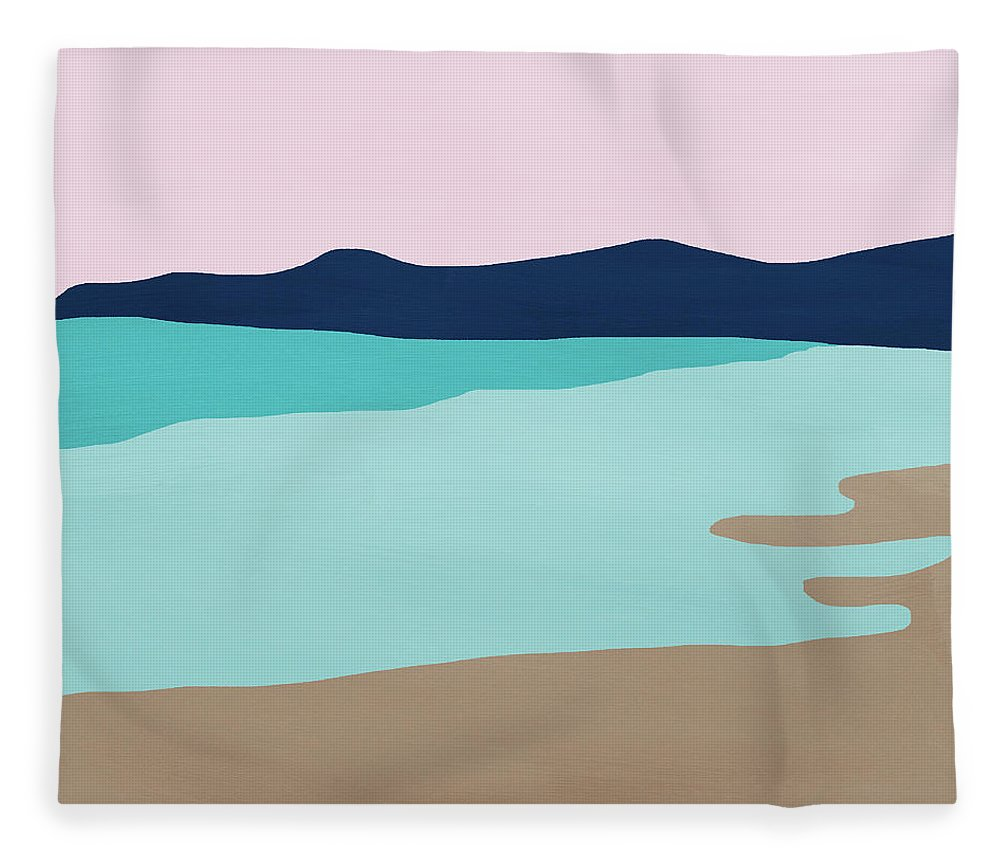 Beach Fleece Blanket featuring the mixed media Beach Cove- Art by Linda Woods by Linda Woods
