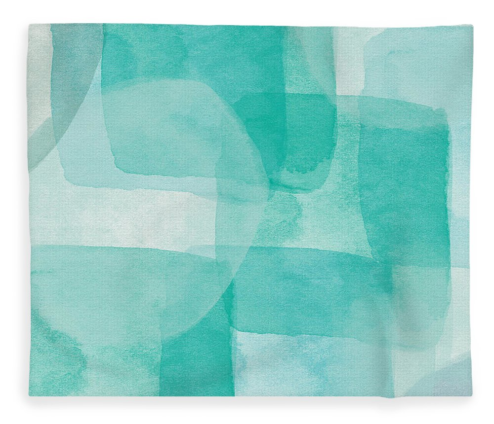 Abstract Fleece Blanket featuring the painting Beach Glass- Abstract Art by Linda Woods by Linda Woods
