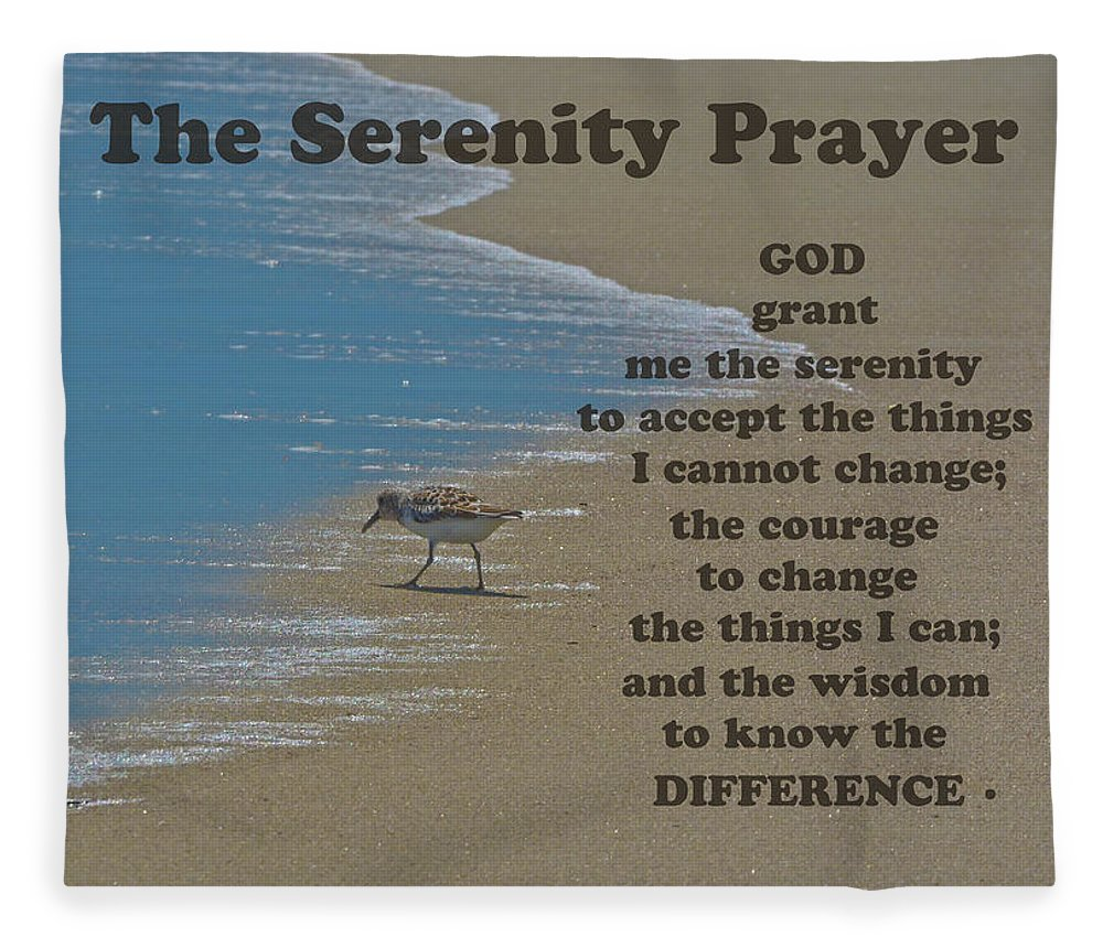 The Serenity Prayer Fleece Blanket featuring the photograph Beach Serenity Prayer by Sandi OReilly