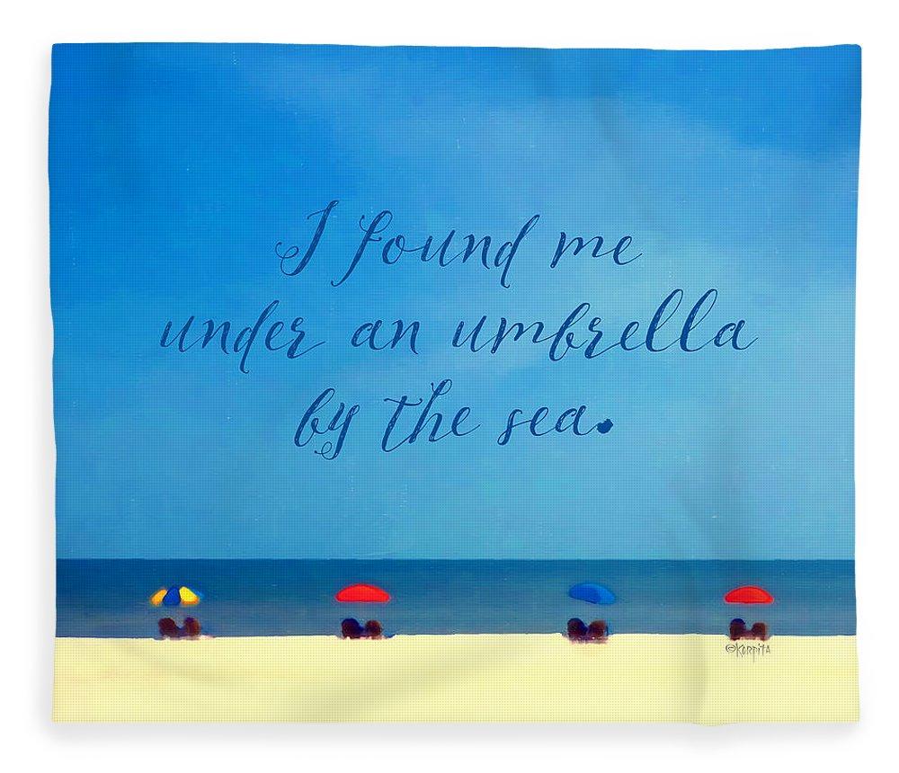 e4a4d12365 Beach Umbrellas Inspirational Seashore Quote Fleece Blanket