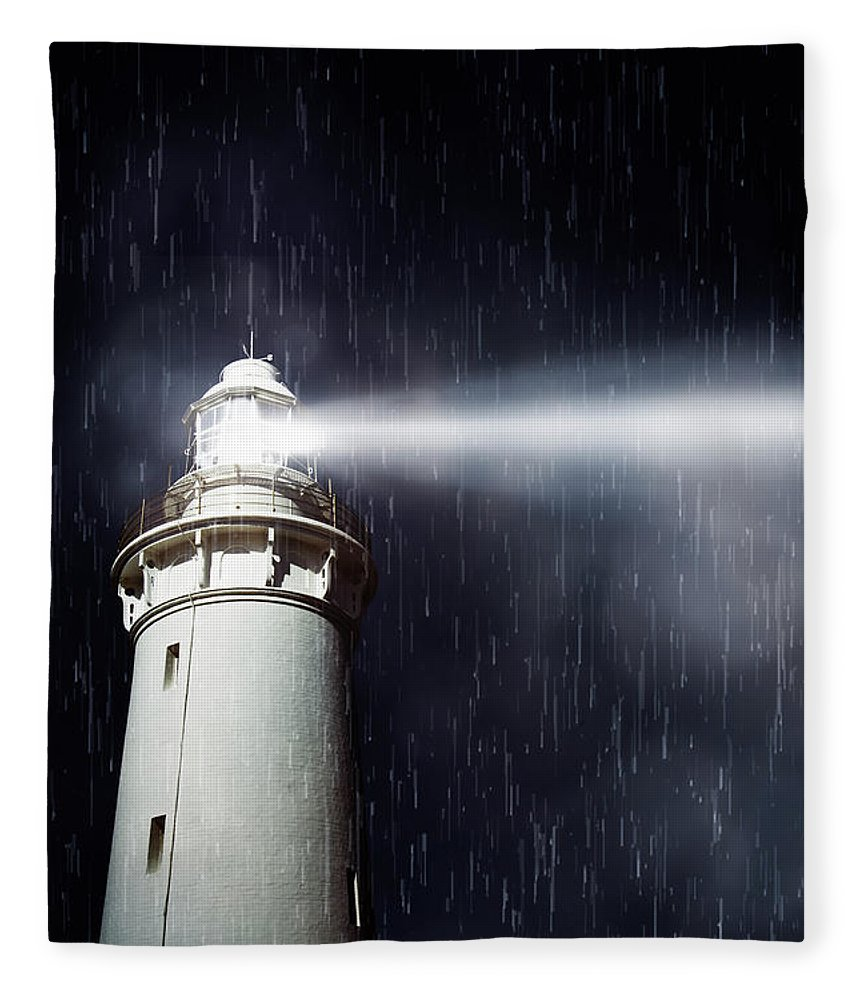 Nautical Fleece Blanket featuring the photograph Beaming Lighthouse by Jorgo Photography - Wall Art Gallery