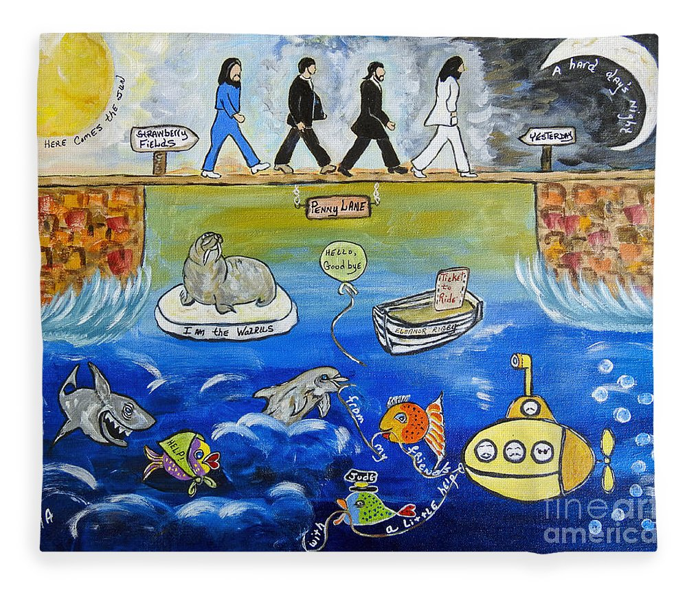The Beatles Fleece Blanket featuring the painting Beatles Song Titles Original Painting Characterization by Ella Kaye Dickey