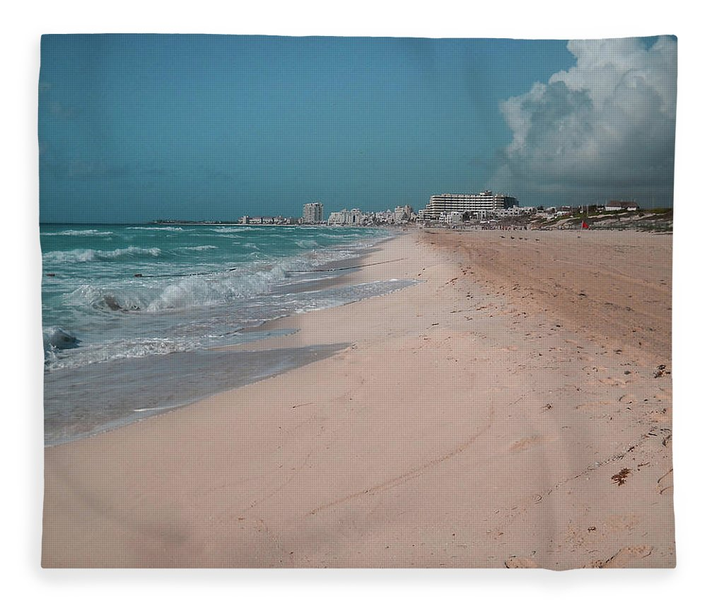 Beach Fleece Blanket featuring the digital art Beautiful Beach In Cancun, Mexico by Nicolas Gabriel Gonzalez