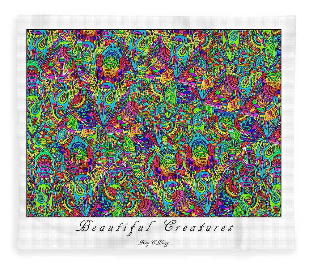 Frogs Fleece Blanket featuring the mixed media Beautiful Creatures by Betsy Knapp