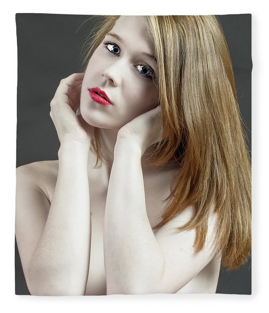 Age Fleece Blanket featuring the photograph Beautiful White Woman On Red Chair by William Freebilly photography