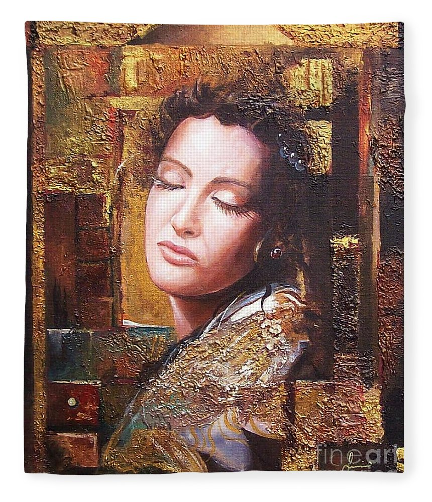 Female Portrait Fleece Blanket featuring the painting Because You Are Beautiful by Sinisa Saratlic