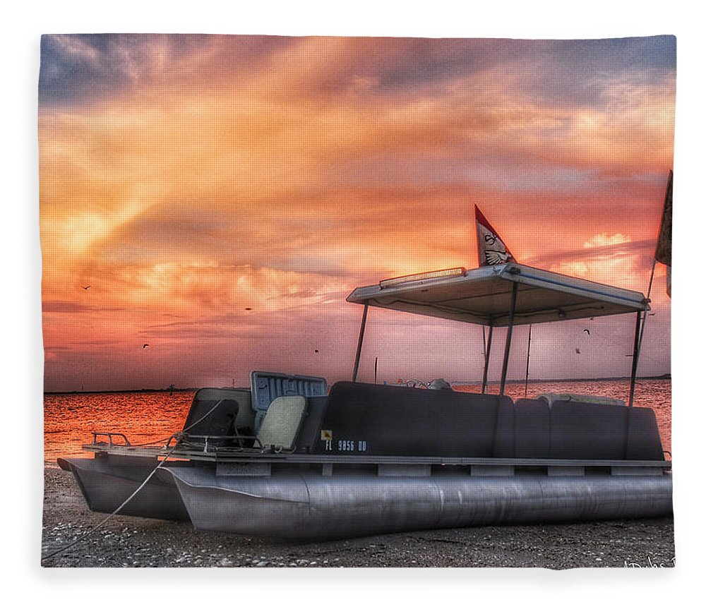 Boat Fleece Blanket featuring the photograph Beer Can Island Sunset by Allen Williamson