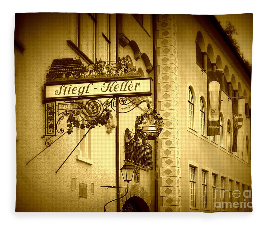 Beer Hall Fleece Blanket featuring the photograph Beer Cellar In Salzburg by Carol Groenen