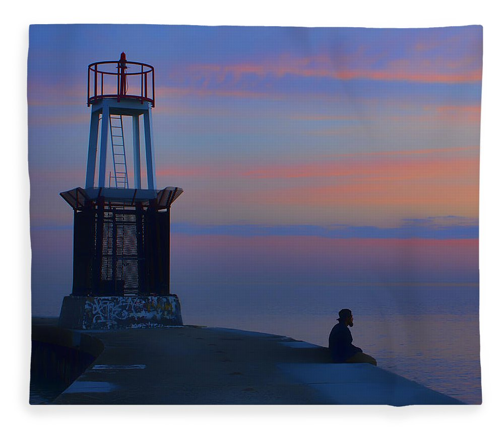 Chicago Fleece Blanket featuring the photograph Before The Dawn - Hook Pier Lighthouse - Chicago by Nikolyn McDonald