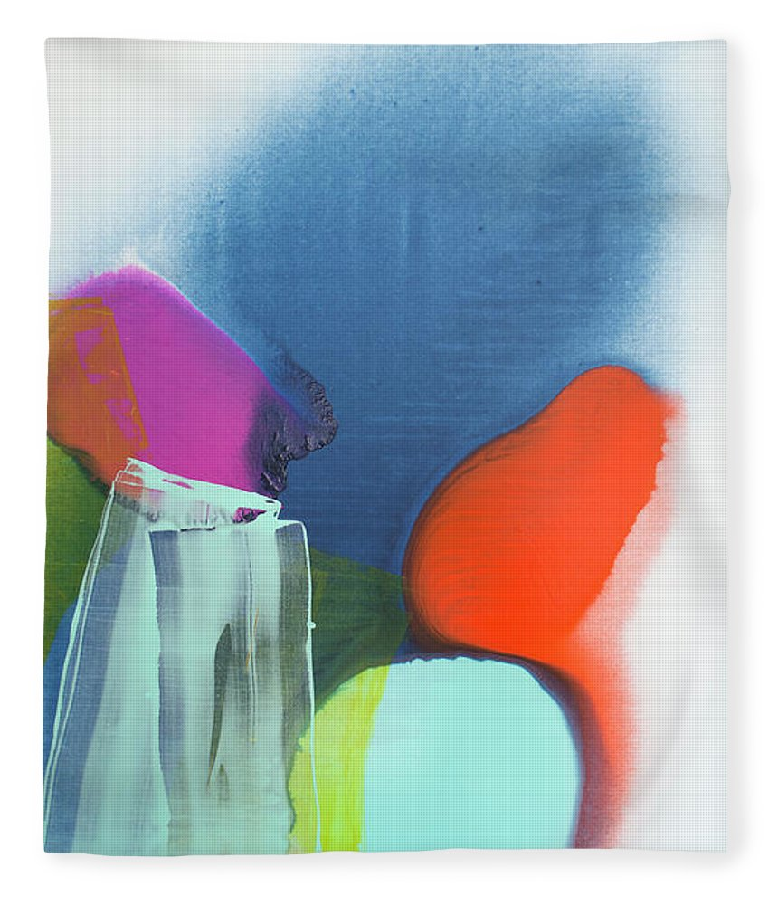Abstract Fleece Blanket featuring the painting Being Sincere by Claire Desjardins