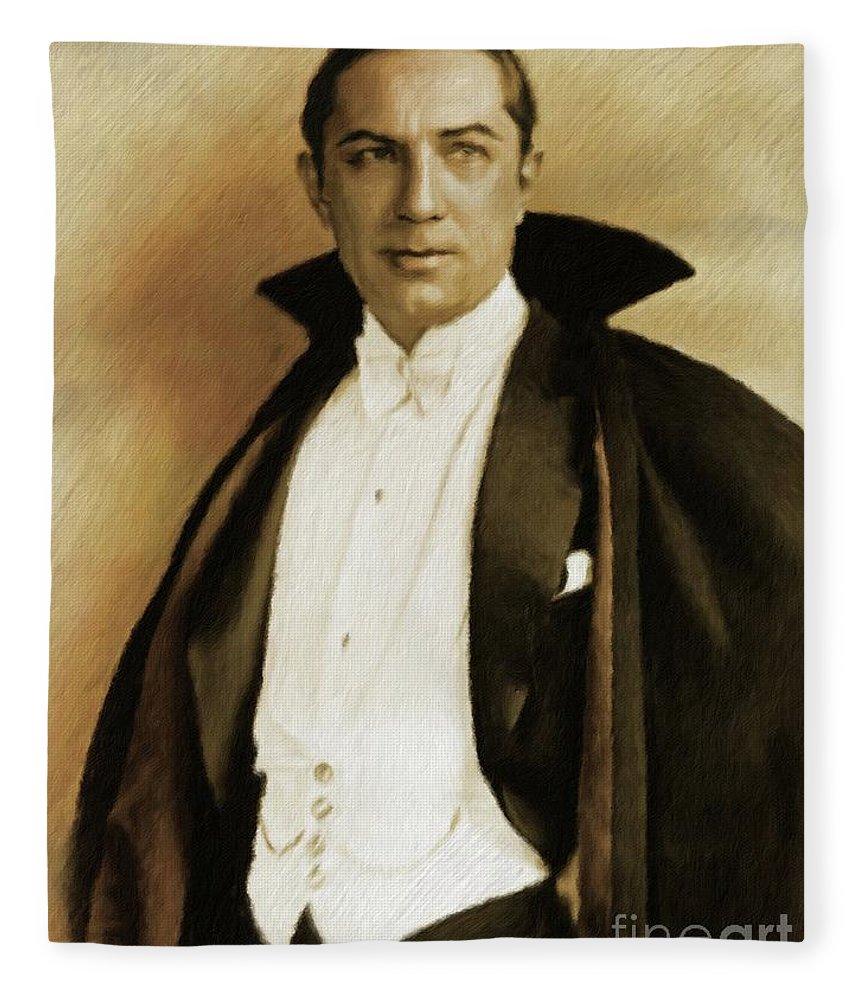 Bela Fleece Blanket featuring the painting Bela Lugosi As Dracula by Mary Bassett