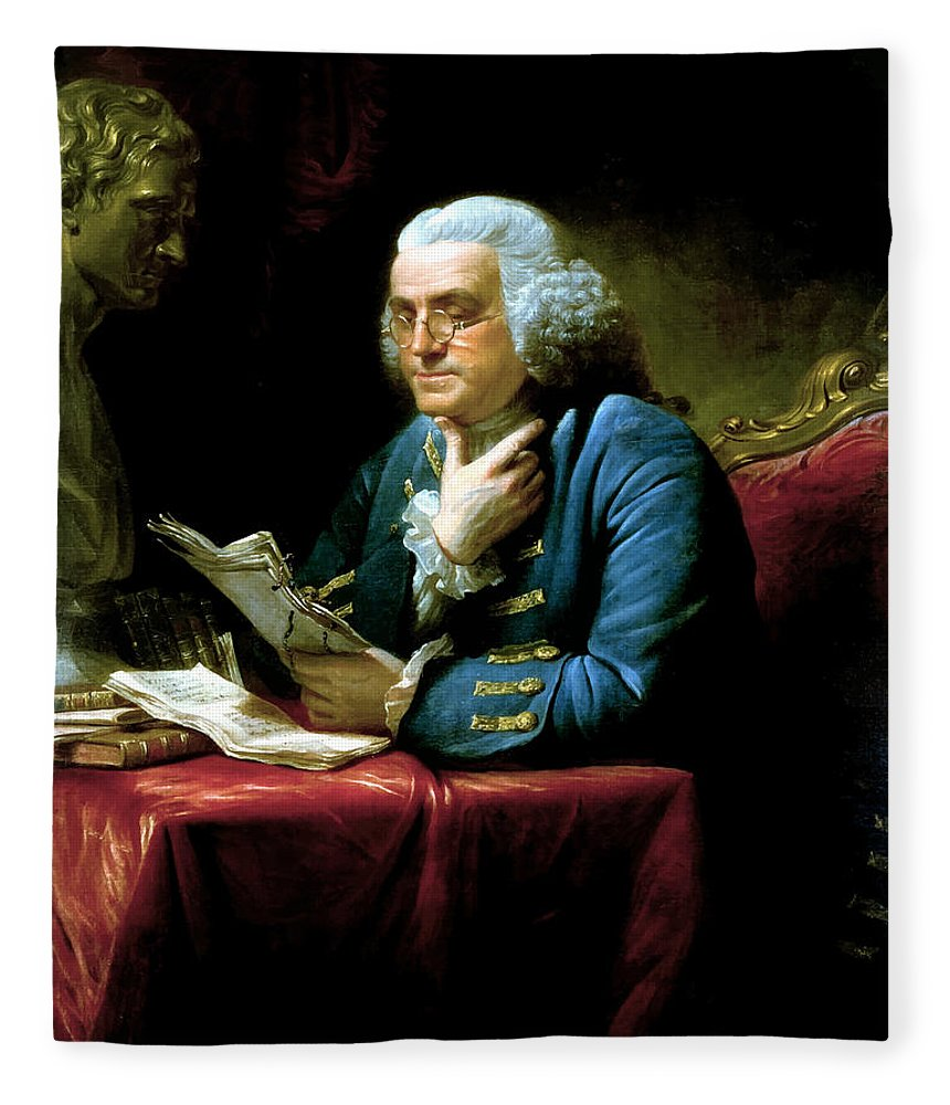 Benjamin Franklin Fleece Blanket featuring the painting Ben Franklin by War Is Hell Store