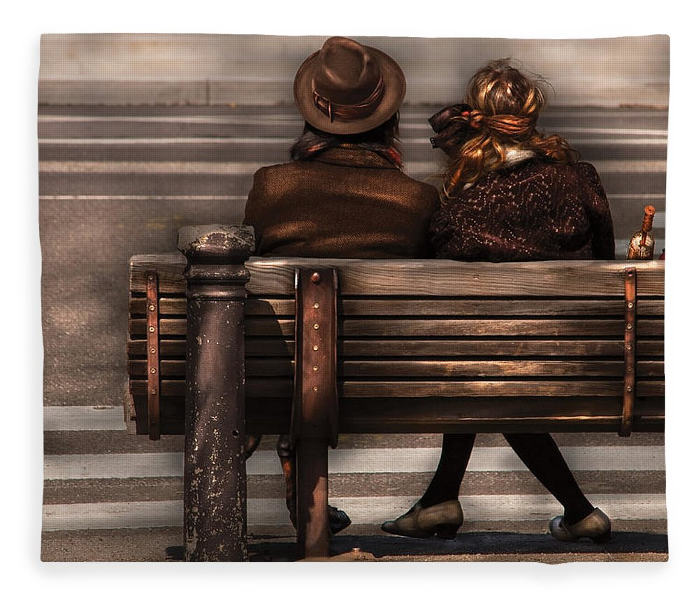 Steampunk Fleece Blanket featuring the photograph Bench - A Couple Out Of Time by Mike Savad