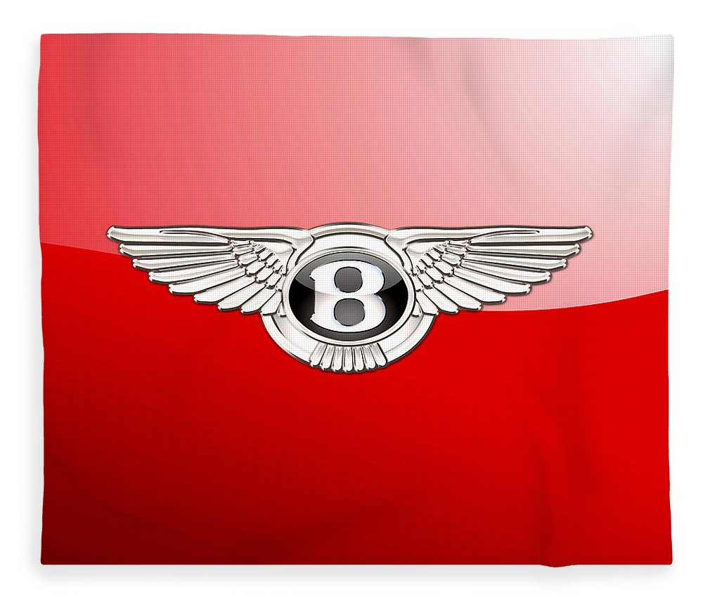 Wheels Of Fortune� Collection By Serge Averbukh Fleece Blanket featuring the photograph Bentley 3 D Badge on Red by Serge Averbukh