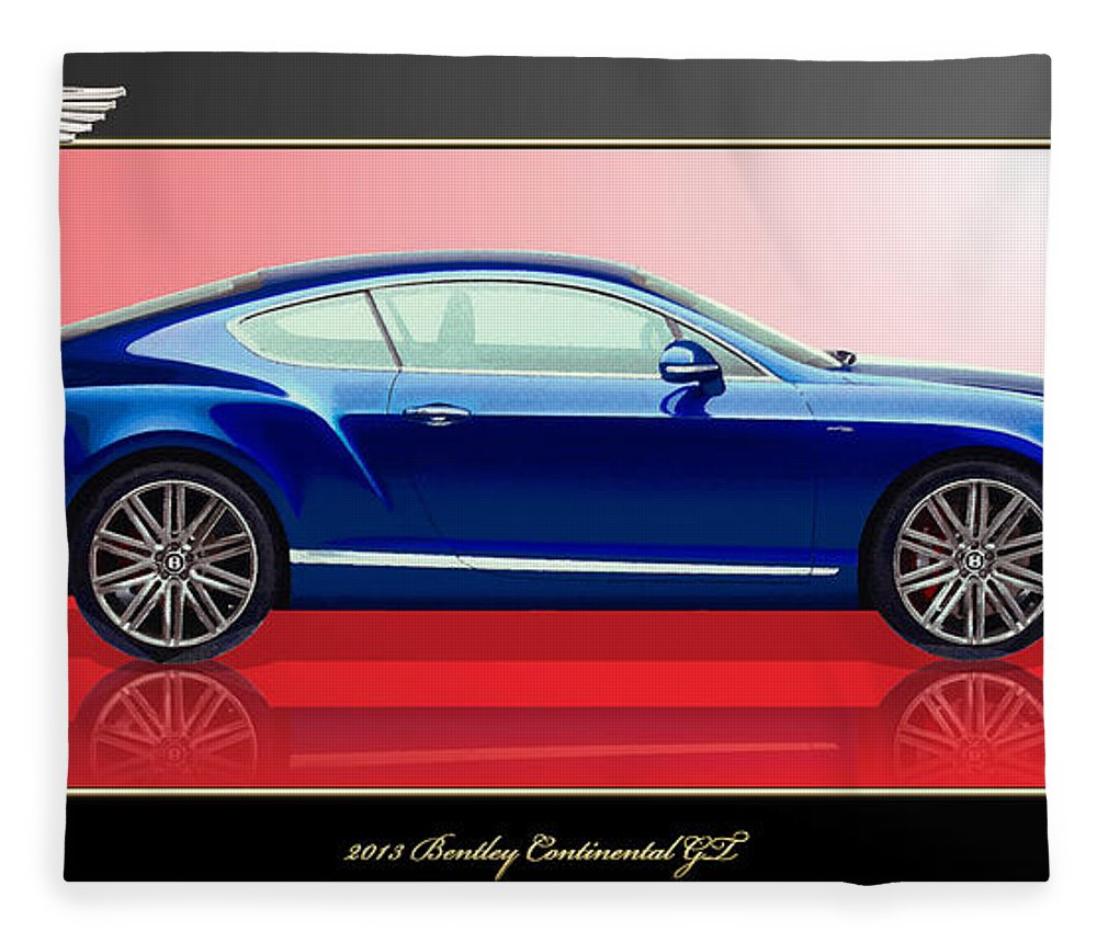Wheels Of Fortune By Serge Averbukh Fleece Blanket featuring the photograph Bentley Continental GT with 3D Badge by Serge Averbukh
