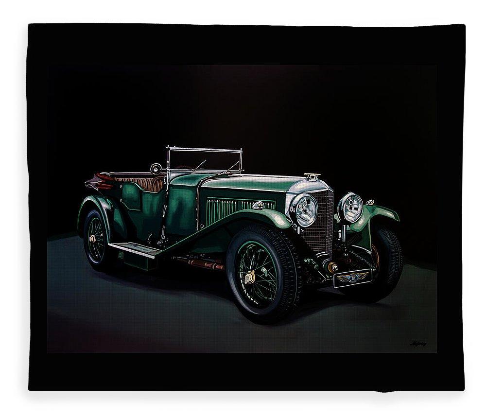 Bentley Open Tourer Fleece Blanket featuring the painting Bentley Open Tourer 1929 Painting by Paul Meijering