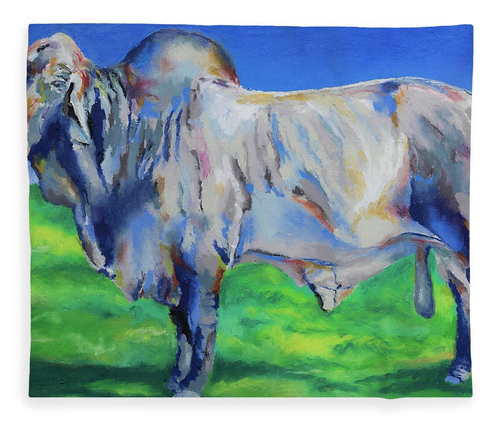 Bull Fleece Blanket featuring the painting Benton by Stephen Anderson