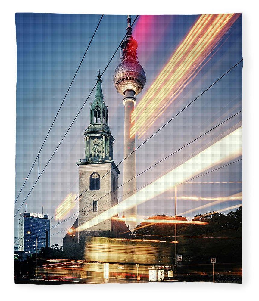Berlin Fleece Blanket featuring the photograph Berlin - Karl-liebknecht-strasse by Alexander Voss