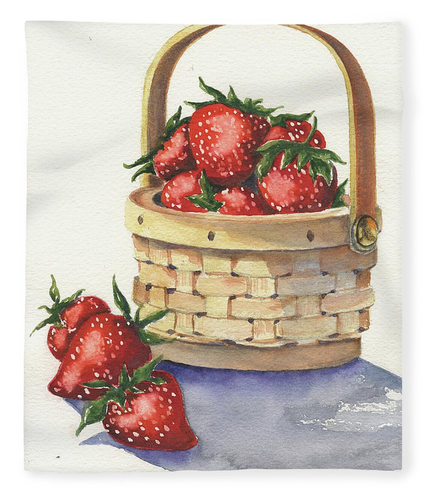Berry Fleece Blanket featuring the painting Berry Nice by Marsha Elliott