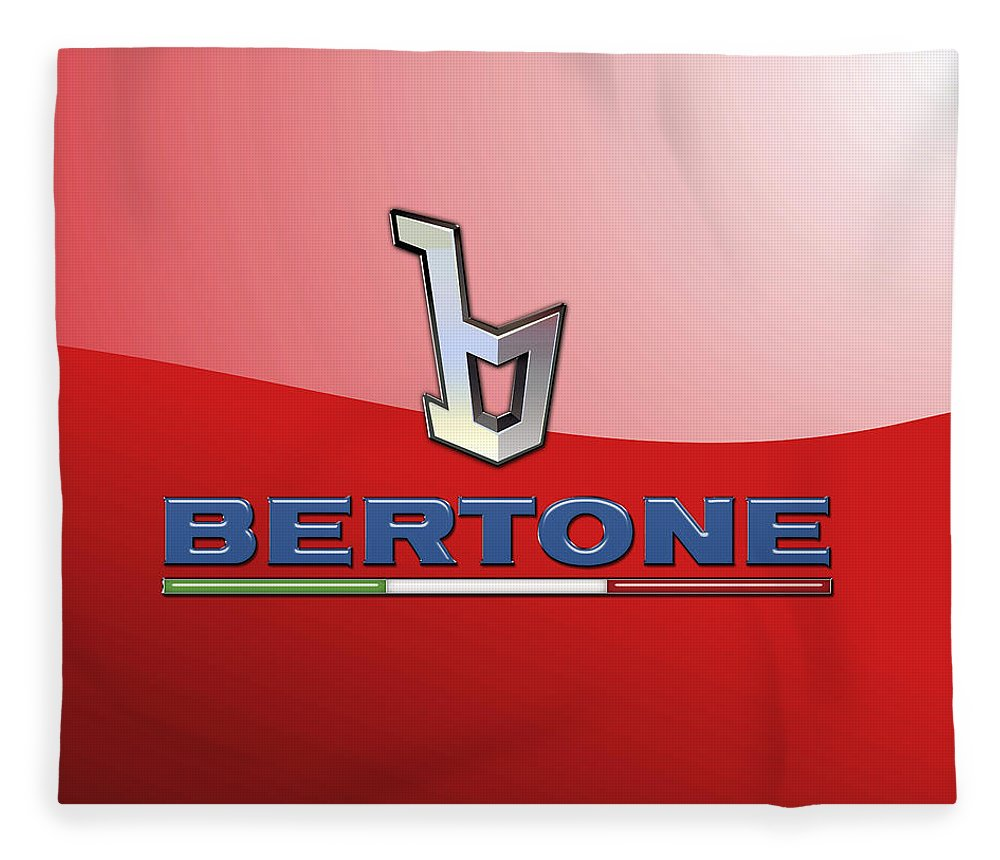 �wheels Of Fortune� Collection By Serge Averbukh Fleece Blanket featuring the photograph Bertone 3 D Badge on Red by Serge Averbukh