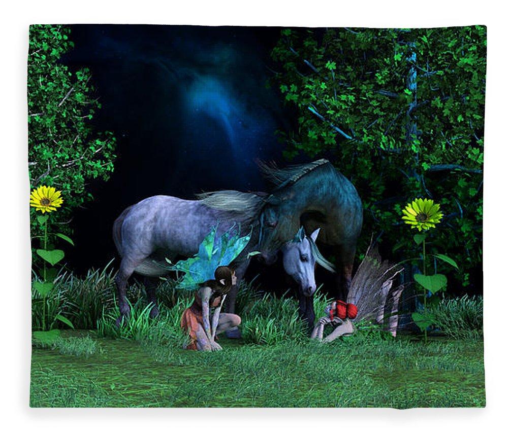 Horse Fleece Blanket featuring the digital art Best Friends by Betsy Knapp