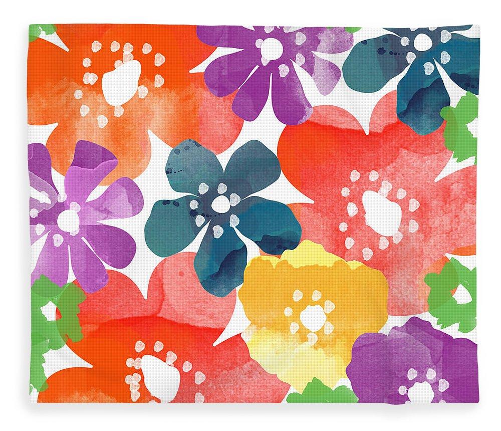Flowers Fleece Blanket featuring the painting Big Bright Flowers by Linda Woods