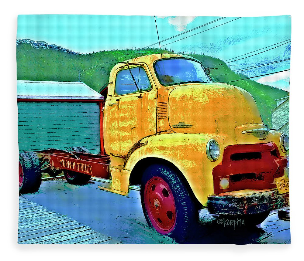 Big Old Chevy Truck - The Turnip Truck Fleece Blanket for Sale by ...