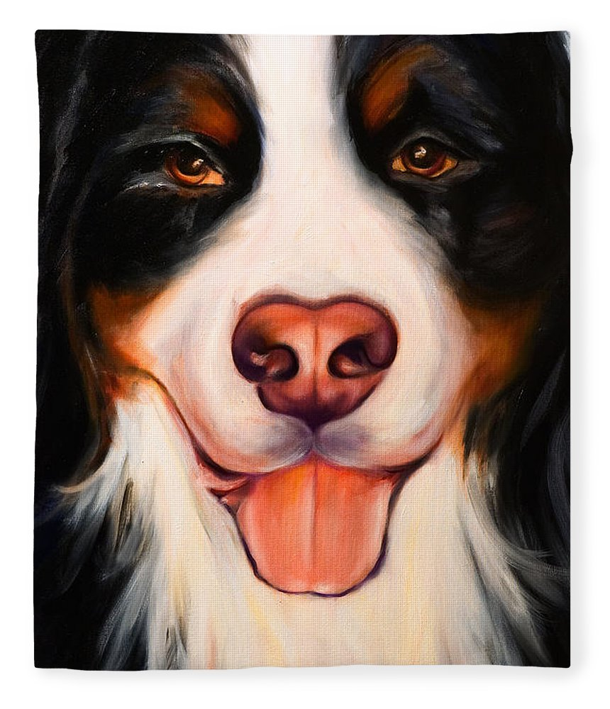 Dog Fleece Blanket featuring the painting Big Willie by Shannon Grissom