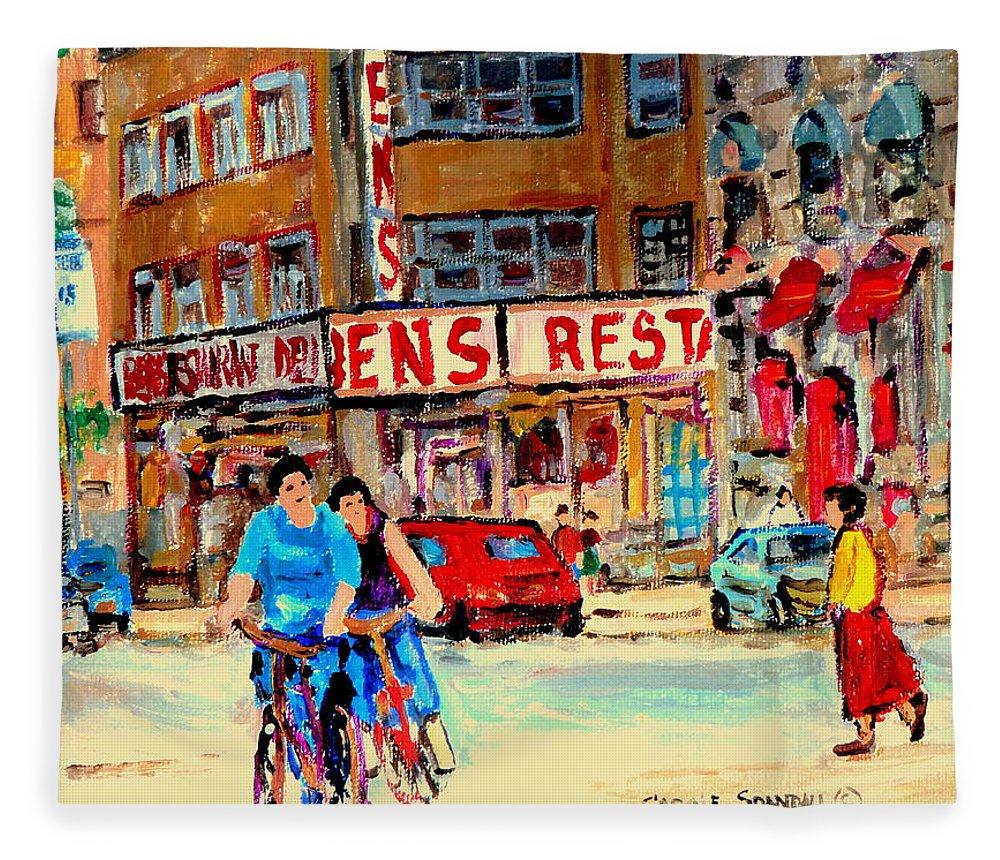 Montreal Fleece Blanket featuring the painting Biking Past Ben by Carole Spandau