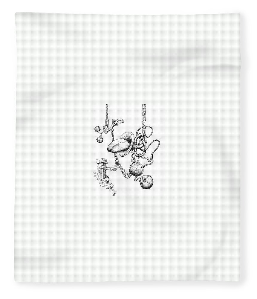 Relationahip Fleece Blanket featuring the drawing Binding Relationship by Sam Sidders