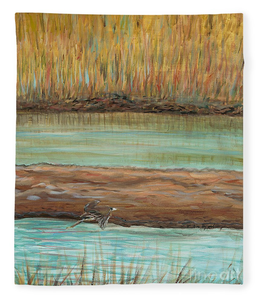 Bird Fleece Blanket featuring the painting Bird in Flight by Nadine Rippelmeyer