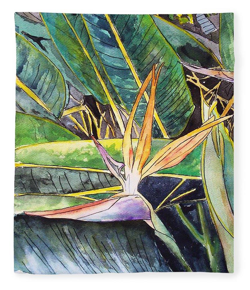 Watercolor Fleece Blanket featuring the painting Bird of Paradise by Derek Mccrea