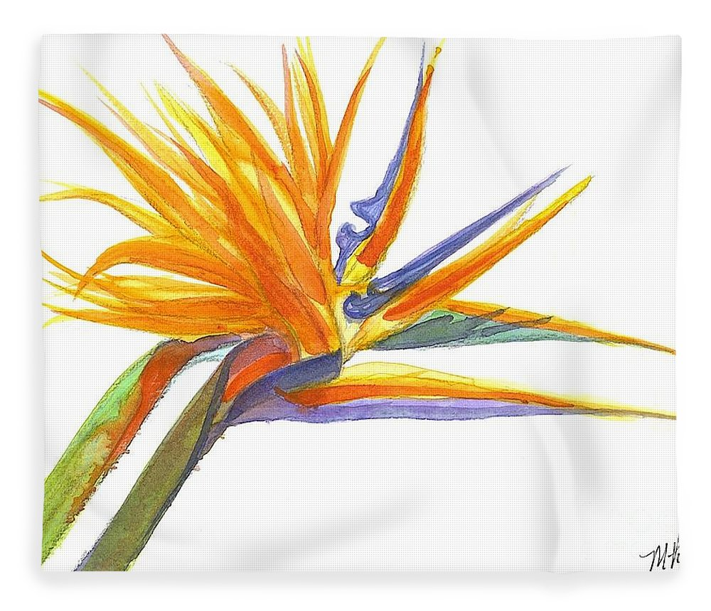 Bird Of Paradise Fleece Blanket featuring the painting Bird Of Paradise by Midge Pippel