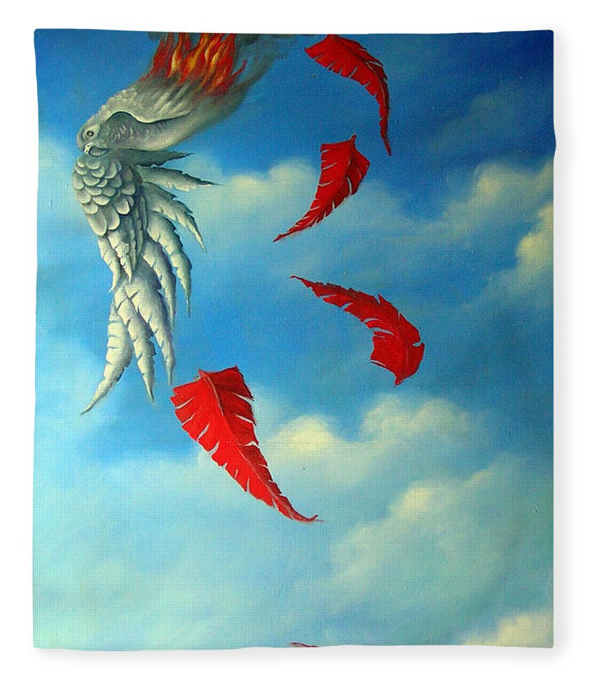 Surreal Fleece Blanket featuring the painting Bird on Fire by Valerie Vescovi