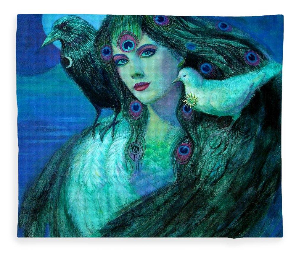 Fantasy Art Fleece Blanket featuring the painting Birds Of Duality Fantasy Art by Sue Halstenberg