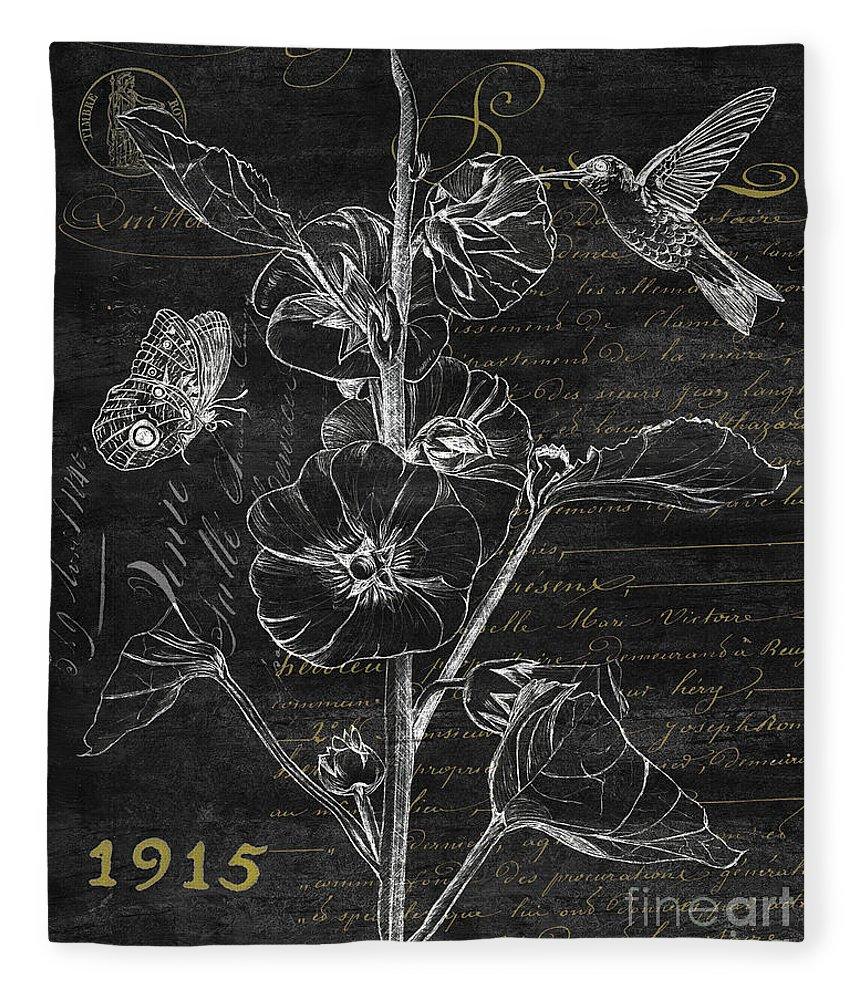 Hummingbird Fleece Blanket featuring the painting Black And Gold Hummingbirds 1 by Debbie DeWitt