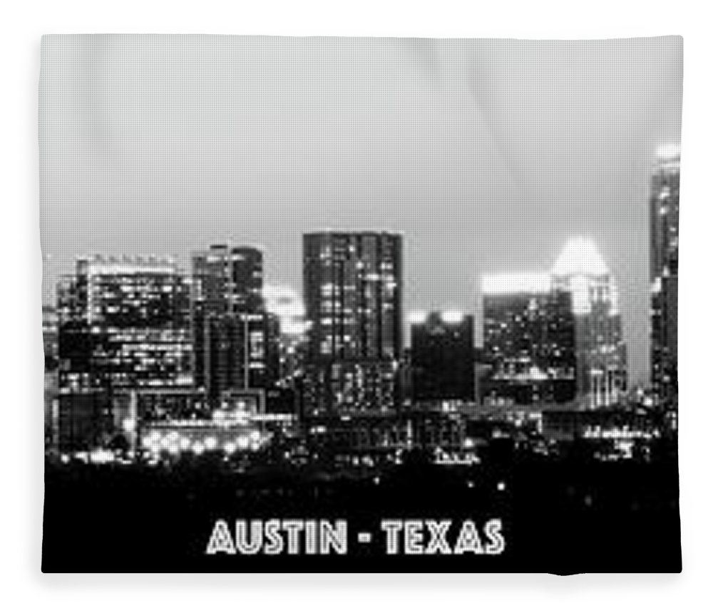 Austin Fleece Blanket featuring the photograph Black And White Panoramic View Of Downtown Austin by PorqueNo Studios
