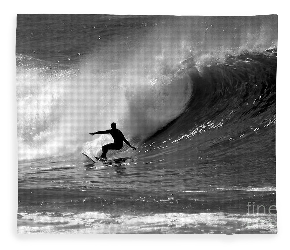 Black And White Fleece Blanket featuring the photograph Black And White Surfer by Paul Topp