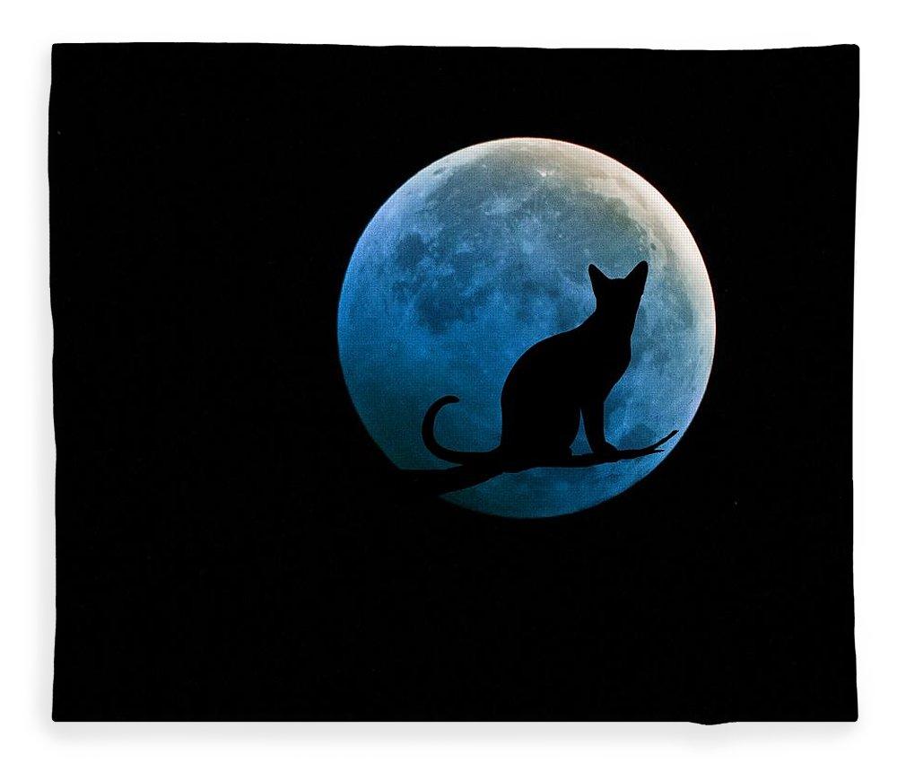 Full Moon Fleece Blanket featuring the digital art Black Cat And Blue Full Moon by Marianna Mills
