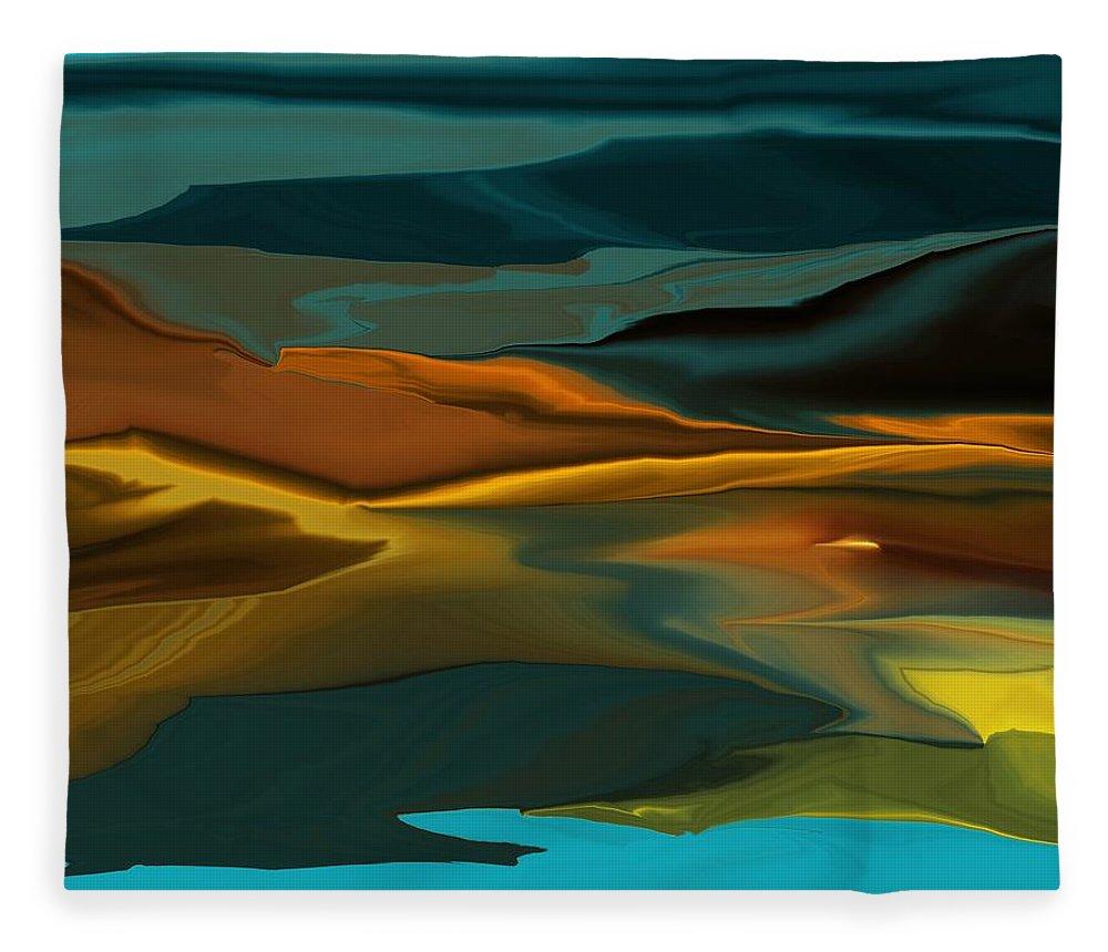 Fine Art Fleece Blanket featuring the digital art Black Hills Abstract by David Lane