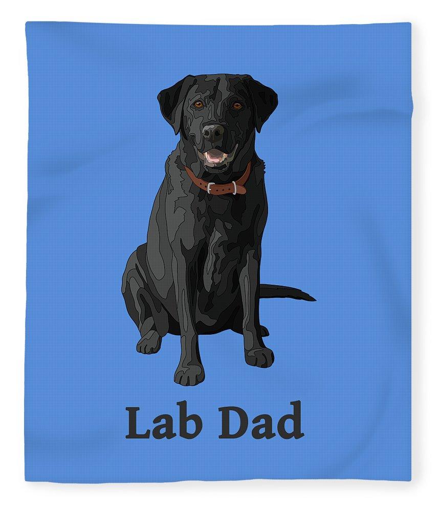 Black Labrador Retriever Lab Dad Fleece Blanket