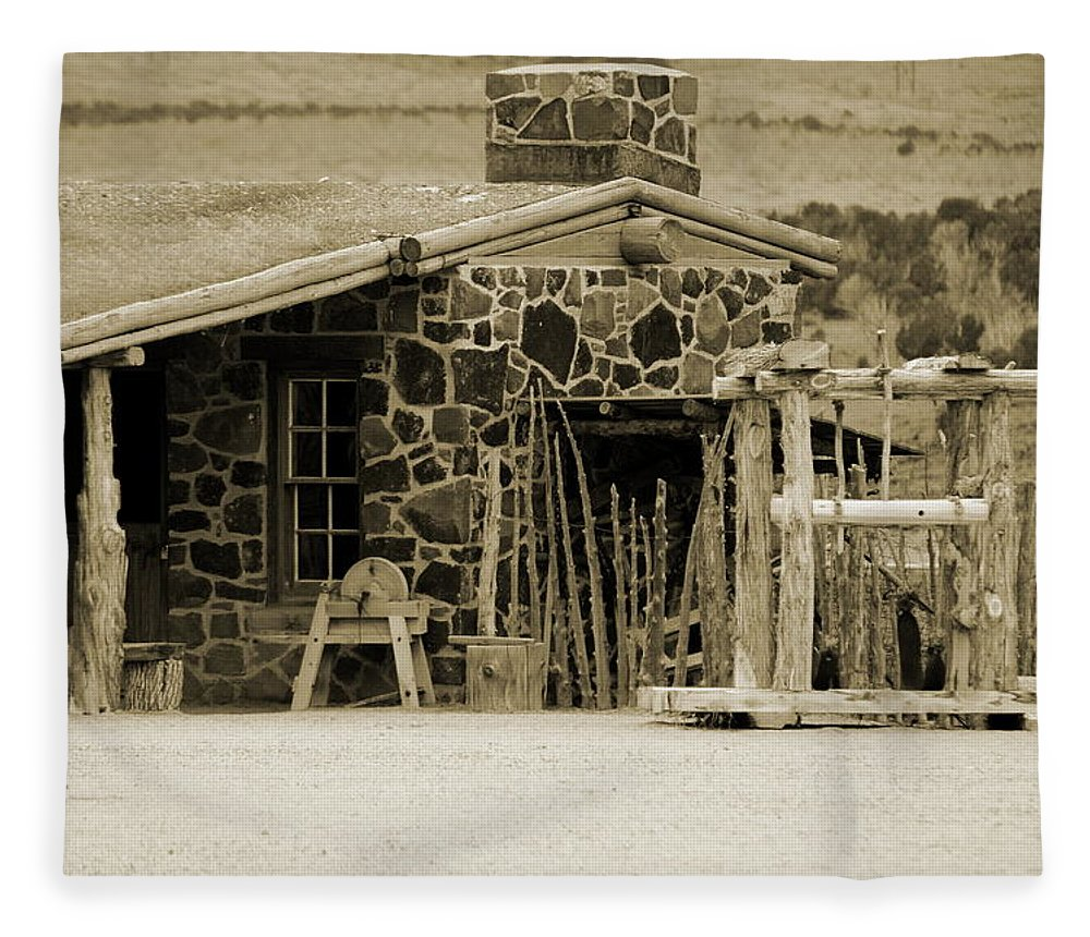 1867 Fleece Blanket featuring the photograph Blacksmith Shop 1867 Cove Creek Fort Utah Photograph in Sepia by Colleen Cornelius