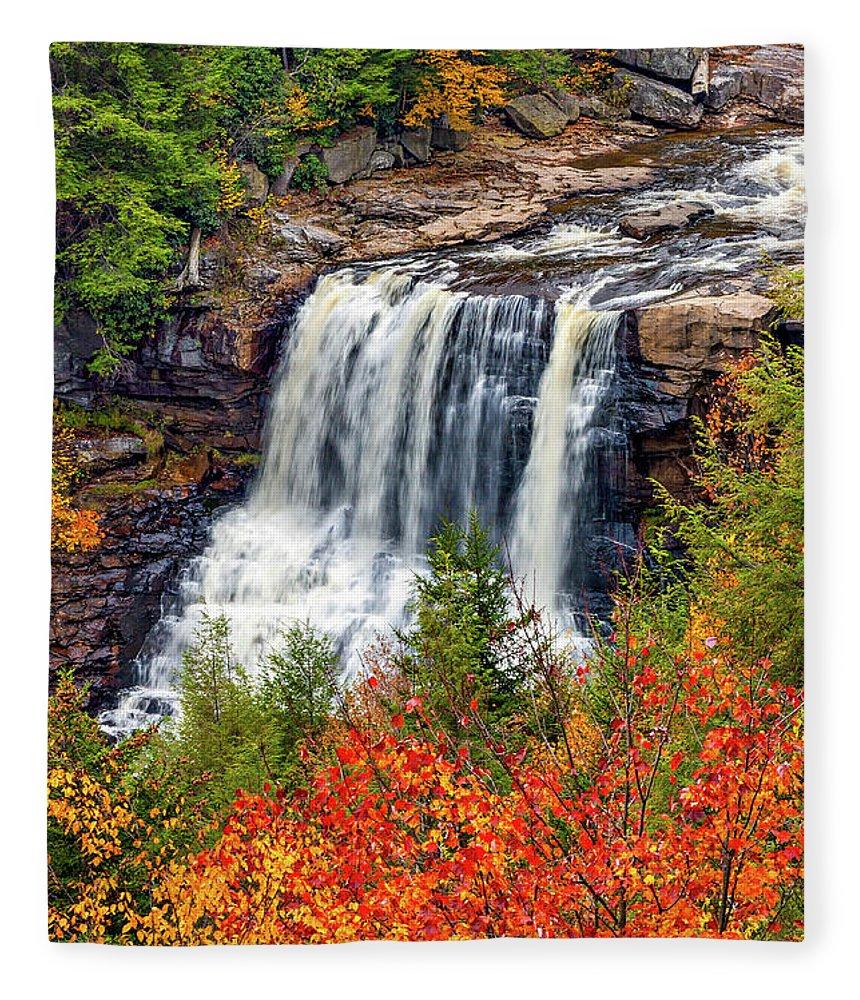 West Virginia Fleece Blanket featuring the photograph Blackwater Falls by Steve Harrington