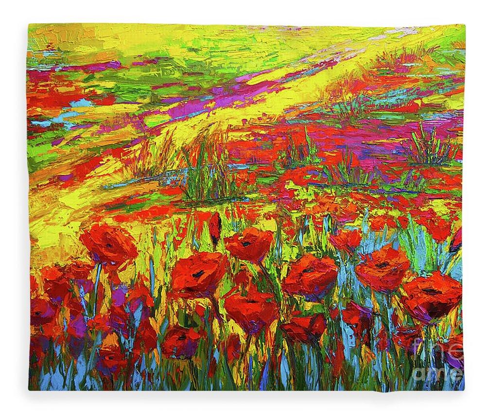 Blanket Of Joy Modern Impressionistic Oil Painting Of Poppy Flower
