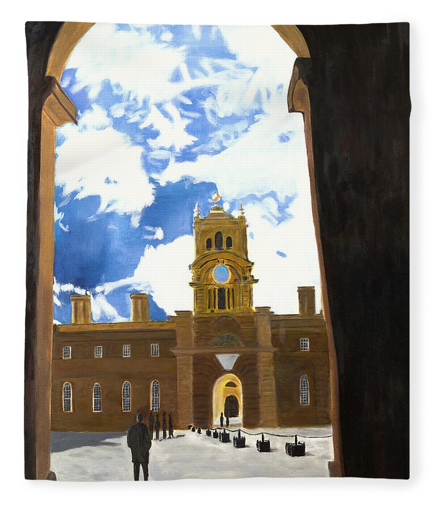 Churchill Fleece Blanket featuring the painting Blenheim Palace England by Avi Lehrer