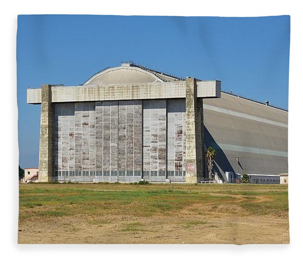 Linda Brody Fleece Blanket featuring the photograph Blimp Hanger From Closed El Toro Marine Corps Air Station by Linda Brody