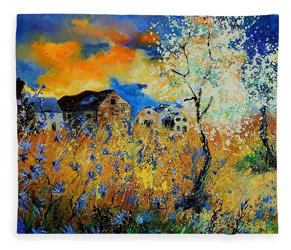 Poppies Fleece Blanket featuring the painting Blooming trees by Pol Ledent