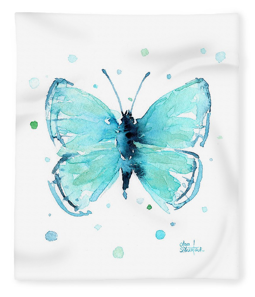 Watercolor Fleece Blanket featuring the painting Blue Abstract Butterfly by Olga Shvartsur